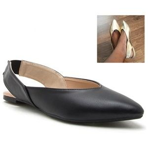 5⭐Rate!! Qupid Pointy Toe Sling Back Flats-BLACK